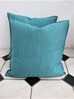 Pair of teal ribbed new cushions