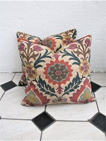 Pair of teal and rust floral new cushions
