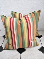 Pair of bright stripe new cushions